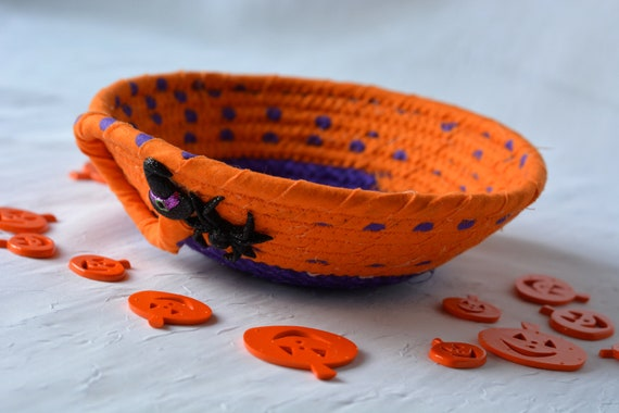 Halloween Candy Bowl, Orange Fabric Basket, Fall Desk Accessory Basket, Change Dish, Coin Holder, Fall Halloween Decoration
