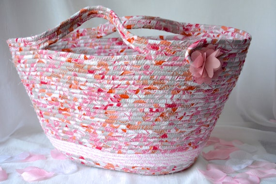 Pink Beach Bag, Moses Basket, Handmade Fabric Gift Basket, Shabby Chic Purse Handbag, Laptop Case, Decorative Coiled Rope Basket