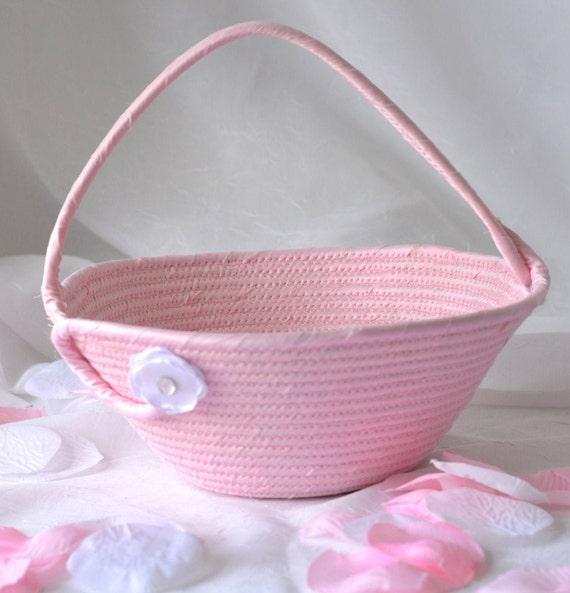 Flower Girl Basket, Handmade Wedding Card Basket, Pink Wedding Decor, Bridal Shower Gift Basket, Coiled Rope Basket, Quilted