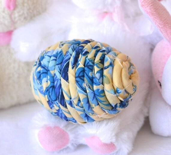 Easter Egg Home Decor, Handmade Delft Blue Easter Egg, Easter Decoration, Hand Coiled Fiber Easter Egg, Basket Bowl Filler