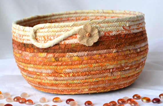 Fall Country Home Decor, Beautiful Terra Cotta Fabric Bowl, Handmade Coiled Basket, Rustic Chic Style, Batik Textile Art Basket