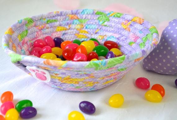 Lavender Easter Basket, Handmade Candy Bowl, Cute Ring Dish, Desk Accessory Basket, Glitter Key Bowl, Easter Decoration, Potpourri Holder
