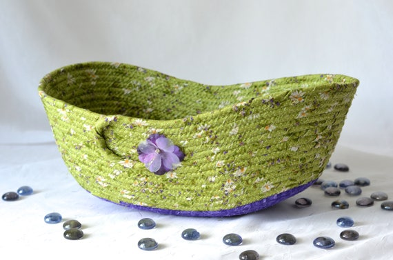 Remote Control Holder Basket, Handmade Iris and Green Bowl, Key Bin Bowl, Modern Fabric Basket, Decorative Yarn Basket