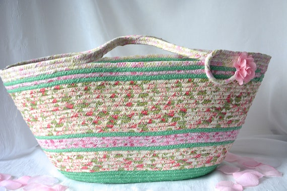 Picnic Fabric Basket, Beach Tote Bag, Shabby Chic Handled Basket, Knitting Project Bag, Handmade Pink Handbag, Clothesline Bag