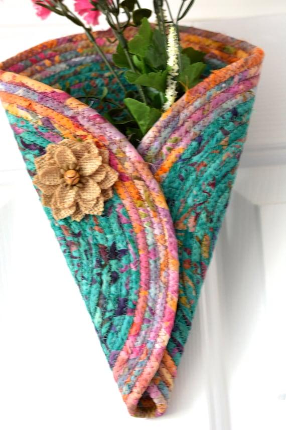 Terra Cotta Door Hanger, Gorgeous Fall Batik Wall Art, Artisan Quilted Wall Vase, Handmade Home Decor, Modern Cone Wall Vase