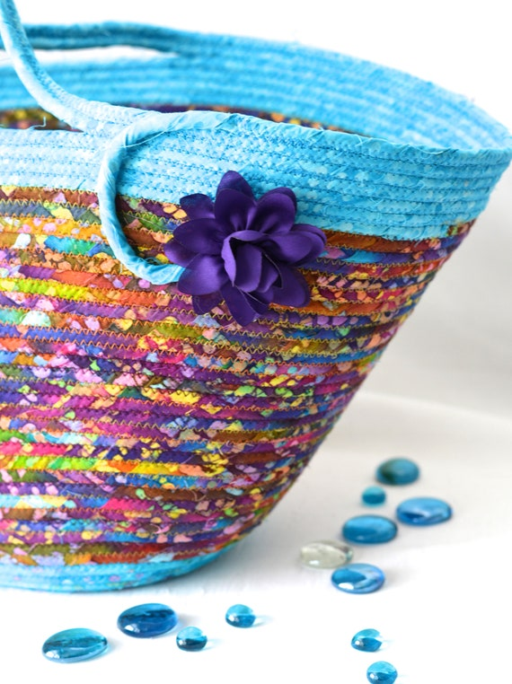 Aqua Batik Basket, Handmade Fabric Tote Bag, Laptop Case, Artisan Gift Basket, Handbag, Purse, Textile Art Basket,  Coiled Rope Basket