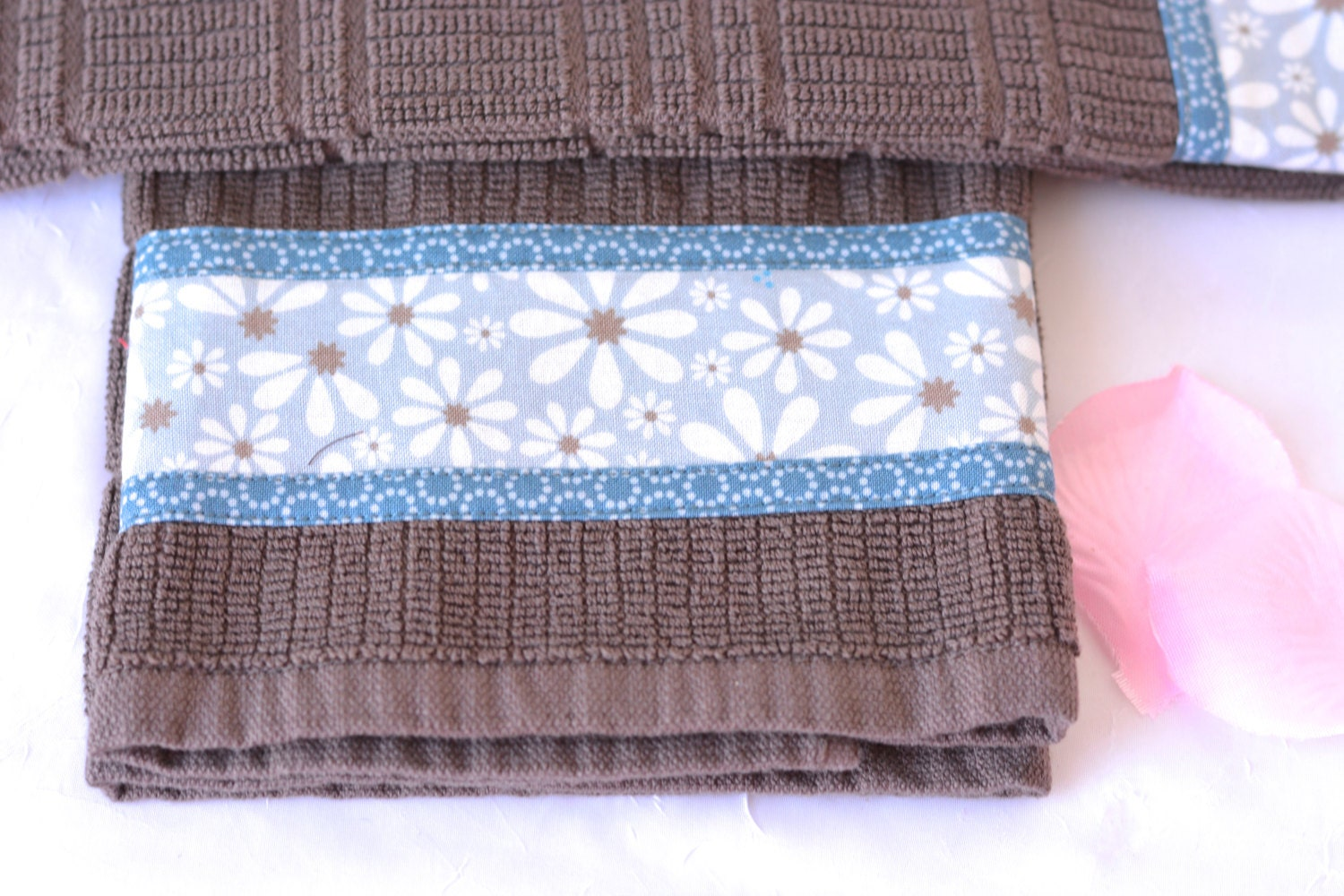 Coffee Kitchen Towels, 2 Lovely Hand Decorated Towels, Set of Two