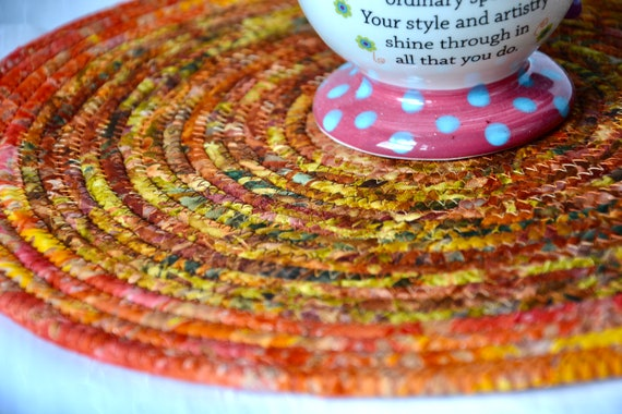 "Gorgeous Fall Trivet, 12"" Batik Table Topper, 1 Handmade Burnt Orange Trivet, Hot Pad, Mug Rug, Autumn Table Runner, Thanksgiving Decor"