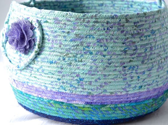 Lavender Bolga Basket, Textile Art Basket, Handmade Knitting Project Bag, Lovely Fiber Basket, Gorgeous Coiled Rope Bin, Magazine Shoe Rack