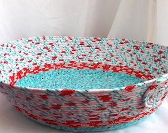 Modern Cat Bed, Handmade Aqua and Red Textile Pet Bed, Magazine Rack, Storage Organizer