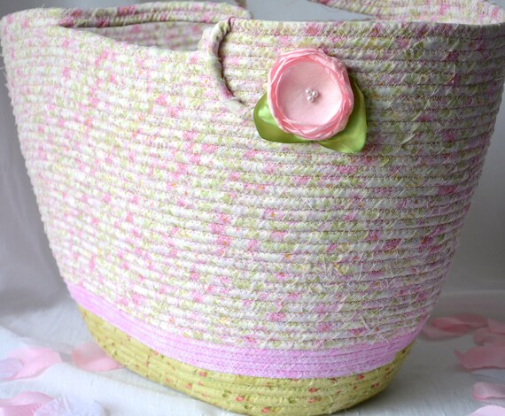 Beach Tote Bag, Handmade Quilted Basket, Decorative Pink Floral Fabric Bag, Handled Picnic Basket, Baby Shower Gift, Summer Tote