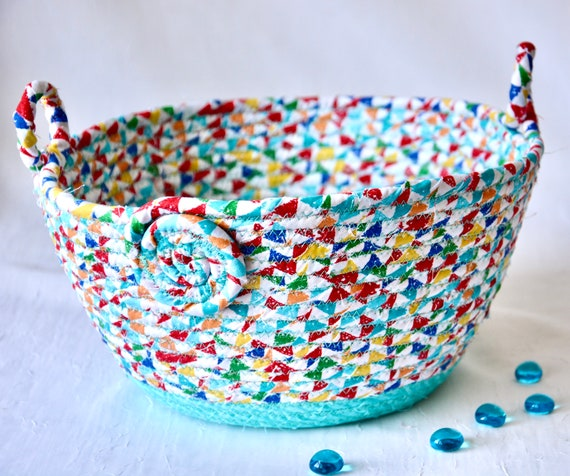 Aqua Basket Decoration, Fun Fruit Bowl, Handmade Napkin Holder, Hand Coiled Fiber Basket, Aqua Quilted Basket, Remote Control Bin