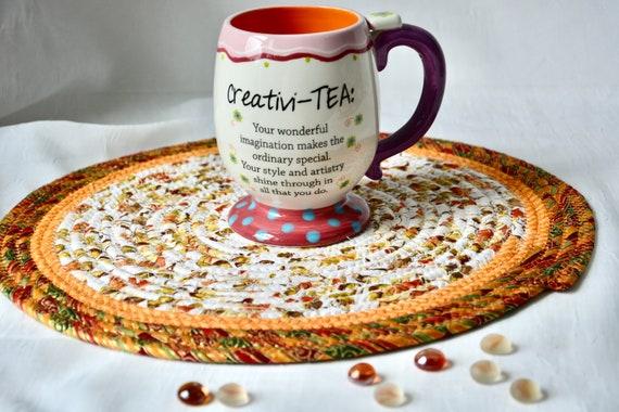 "Fall Place Mat, 1 Handmade Trivet, 13"" Table Runner, Foliage Potholder, Table Topper, Autumn Hot Pad, Orange Red Place Mat"
