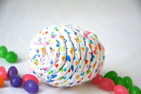 Easter Egg Basket Filler, 1 Cute Heart Egg Ornament, Handmade Easter Egg Decoration, Bowl Filler, Whimsical Fiber Easter Egg, Hand Coiled