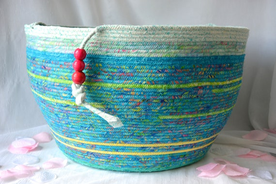 Beautiful Bolga Basket, Handmade Tropical Aqua Basket, Gorgeous Batik Basket, Knitting Project Bag, Textile Art, Stuffed Animal Bin