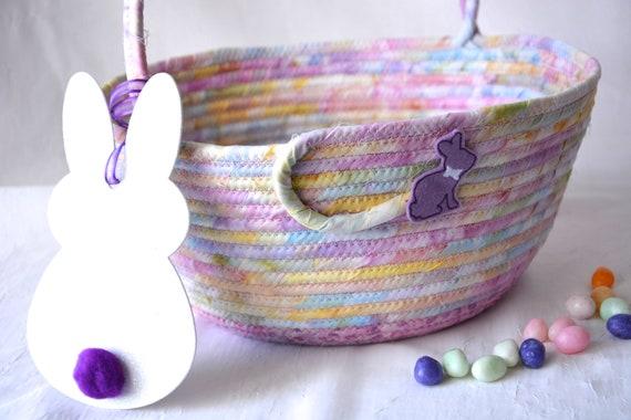 Violet Easter Basket, Handmade Batik Fabric Basket, Girl Easter Bucket, Gorgeous Easter Decoration, Easter Egg Hunt Bag, Free Name Tag