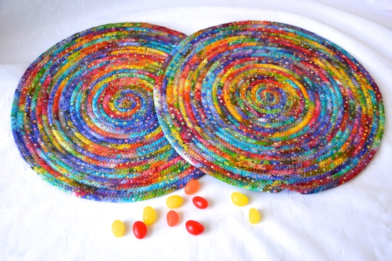 "Boho Batik Mat, 2 Rainbow Place Mats, Handmade Potholders, 11"" Hot Pads, Fabric Table Trivets, Kitchen Home Decor, Table Topper Runner"
