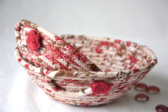 Pink Nesting Bowls, 2 Handmade Fabric Basket Set, 2 Red Floral Ring Dish, Key Holder Tray, Catchall, Jewelry Tray, Blue Home Decoration