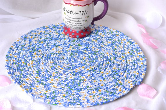 "Blue Place Mat, 14"" Handmade Patio Trivet, Quilted Rope Trivet, Summer Hot pad, Hostess Gift,  Picnic Coiled Potholder"