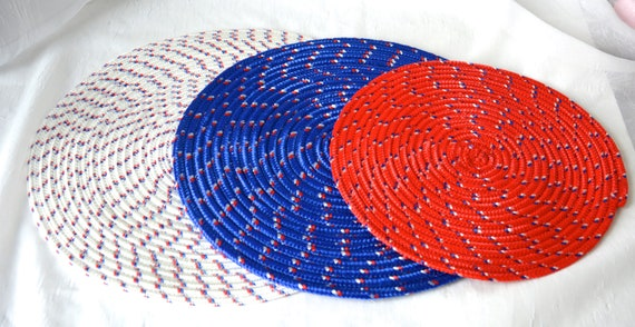 Patriotic Party Decor, 3 Red White and Blue Trivets, Patio  Place Mats, Handmade Table Toppers, Runner, Summer Hot pad, Picnic Potholder