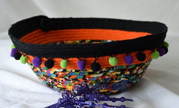 Halloween Decoration, Sale... Handmade Bowl, Artisan Quilted Basket, Unique Fiber Bowl,  homemade coiled fabric basket