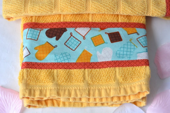 Fall Gift Towels, Cookout BBQ Gift Set, Lovely Yellow Kitchen Towels, 2 Hand Decorated Towels, Set of Two, Tailgate Party Decor
