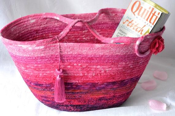 Hot Pink Tote Bag, Handbag Purse, Handmade Batik Picnic Basket, Laptop Case, Unique Magenta Basket, Coiled Moses Basket