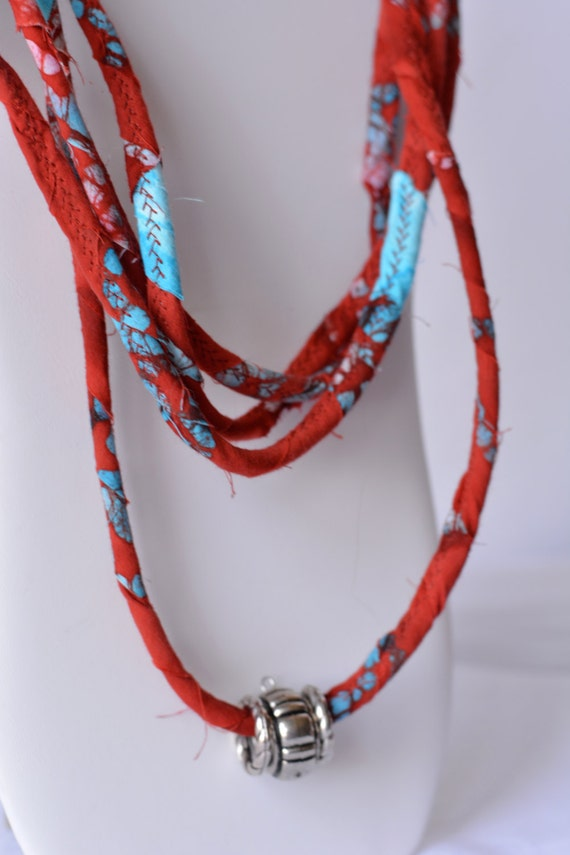 Beach Statement Necklace, Infinity Red and Turquoise Rope Necklace, Handmade Boho Fabric Scarf, Modern Women Fashion Jewelry