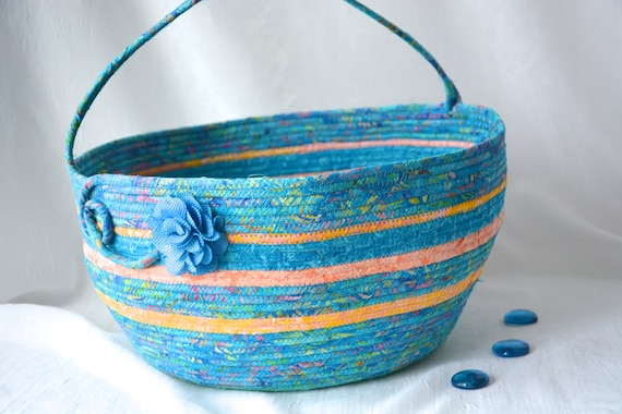 Blue Round Basket, Batik Fabric Bolga Bag, Handmade Coiled Rope Basket with handle, Country Chic Bin, Farmhouse Textile Art Basket