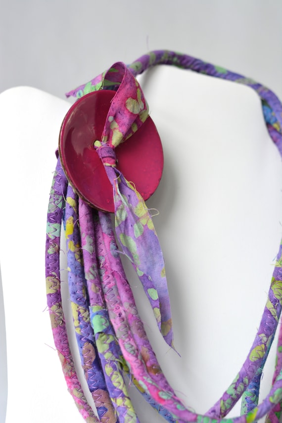 Violet Fabric Necklace, Infinity Rope Necklace, Handmade Wrap Fiber Jewelry, Unique Skinny Multi Strand Necklace, Pink Accent Jewelry