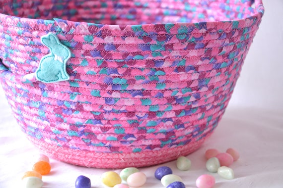 Easter Basket, Handmade Pink Easter Bucket, Girl Easter Bucket, Easter Decoration, Modern Glitter Basket, Easter Egg Hunt Bag, Free Name Tag