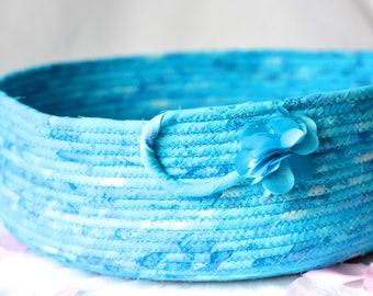 Turquoise Batik Basket, Blanket Holder, Blue Batik Fabric Basket, Storage Organizer, Handmade Yarn Basket, Scarf Holder, Recycle Paper Bin