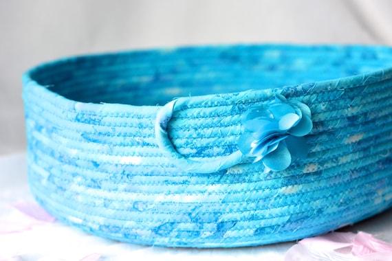 Aqua Storage Bin, Handmade Blue Rope Basket, Gorgeous Batik Gift Basket, Dog Cat Bed, Magazine Rack, Book Bin, Pet Toy Organizer Bin