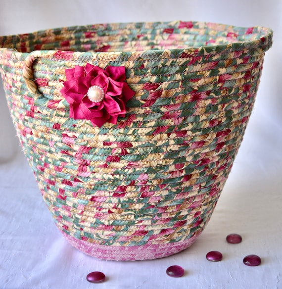 Mauve Waste Basket, Handmade Pink Handled Basket, Receptacle Trash Bin, Floral Recycle Dust Bin, Waste Can for Bathroom, Office