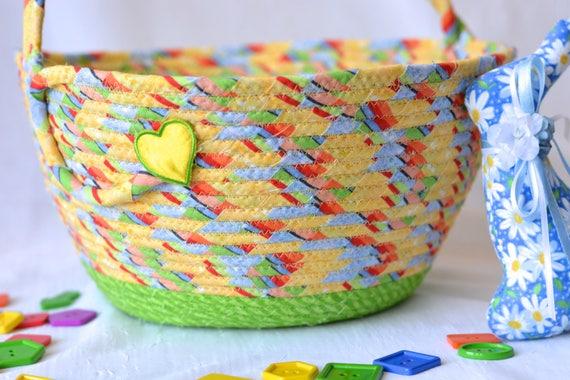 Boy Easter Basket, Handmade Yellow Easter Bucket, CuteStorage Bin, Baby Boy First Easter Basket, Toy Storage Handled