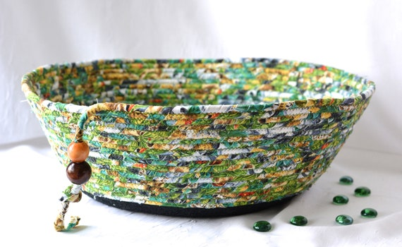 Green Fabric Bowl, Handmade Coiled Rope Basket, Men Gift Basket, Remote Control Basket for Dad, Cotton Cat Pet Bed, Dog Toy Storage Bin