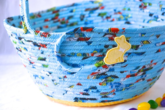 Baby Easter Basket, Handmade Easter Bucket, Boy First Basket, Fabric Easter Bucket, Blue Coiled Quilted Basket, Artisan Rope Bowl