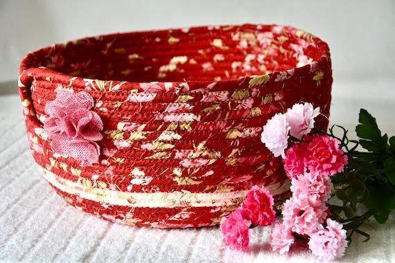Shabby Chic Basket, Beautiful Floral Decoration, Pretty Fabric Basket, Handmade Key Bowl, Napkin Holder, Fruit Bowl, Remote Holder