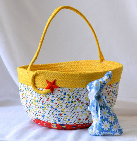 Boy Easter Basket, Handmade Easter Bucket, Baby Boy First Basket, Boy Easter Egg Hunt Bucket, Yellow Coiled Fabric Basket