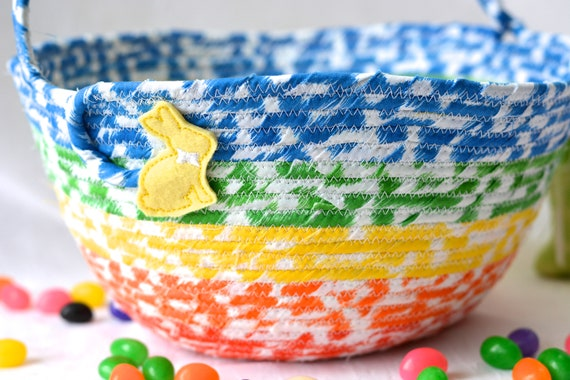Boy Easter Basket, Handmade Rainbow Basket, Cute Candy Bowl, Modern Easter Decoration, Boy Room Organizer Bucket, Coiled Rope Basket