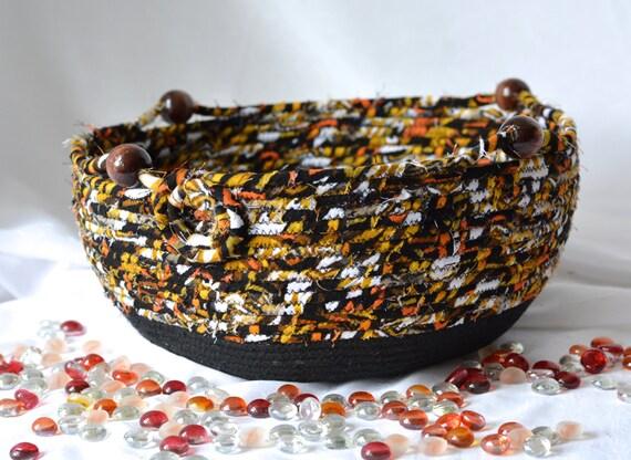 Remote Control Holder, Handmade Designer Basket, Black Brush Holder, Gift for Him, Brown Coiled Rope Basket, Earth Tone Home Decor