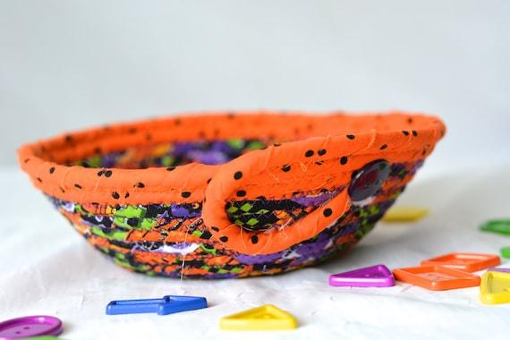 Halloween Candy Bowl, Orange Fabric Basket, Cute Desk Accessory Basket, Change Dish, Coin Holder, Fall Halloween Decoration