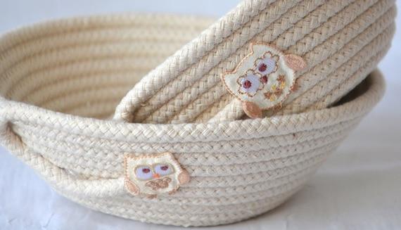 Cute Owl Dishes, 2 Baskets, Handmade Owl Decoration, Potpourri Holder, Beige Candy Baskets, Ring Dish, Key Tray, Neutrals Bowls