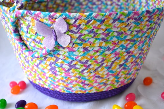 Girl EasterBasket, Handmade Fabric Rope Basket, Pretty Purple Easter Bucket, Flower Girl Basket, Basket with Handle