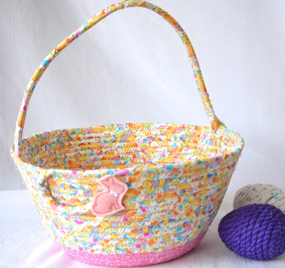 Easter Basket for Child, Handmade Easter Bucket, Cute Easter Egg Hunt Bag,  Yellow Spring Decoration, Easter Decor, Free Name Tag