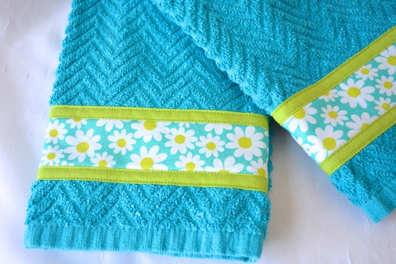 Azure Home Decor, 2 Hand Decorated Kitchen Towels, Set of Two Cotton Blue Tea Towels, Spring Dish Cloths, Home Decoration