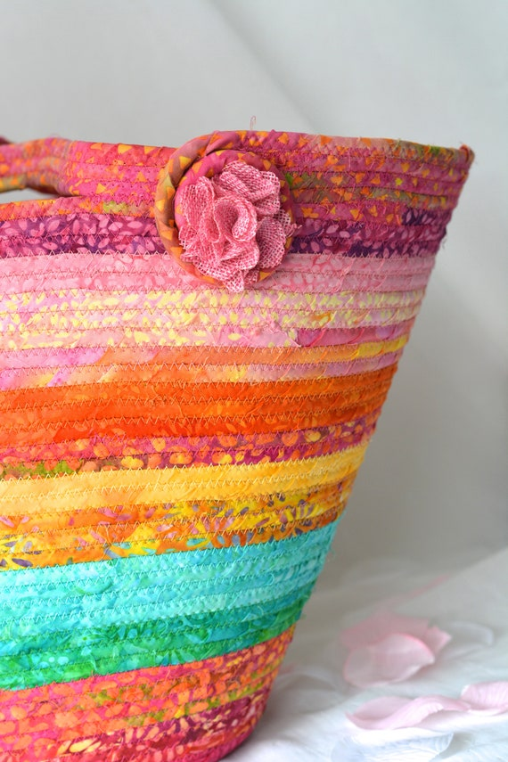 Beach Bag Tote, Textile Art Basket, Gorgeous Batik Tote Bag, Handmade Picnic Basket, Fiber Rope Basket, Laptop Purse Case, Unique  OOAK