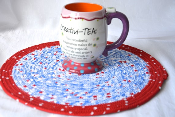 "Summer Picnic Decor, Place Mat 12"", Handmade Red White and Blue Trivet, Quilted Hot pad, Patriotic Gift, Potholder, Coiled Rope Mat"