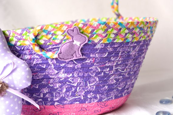 Girl Easter Basket and 1 Cute Bunny, Handmade Whimsy Bunny Basket, Pretty Purple Easter Bucket, Flower Girl Basket, Basket with Handle