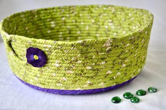 Yarn Storage Bin, Handmade Green and Purple Basket, Scarf Holder, Remote Control Caddy, Toy Organizer Bin, Chartreuse Fabric Basket